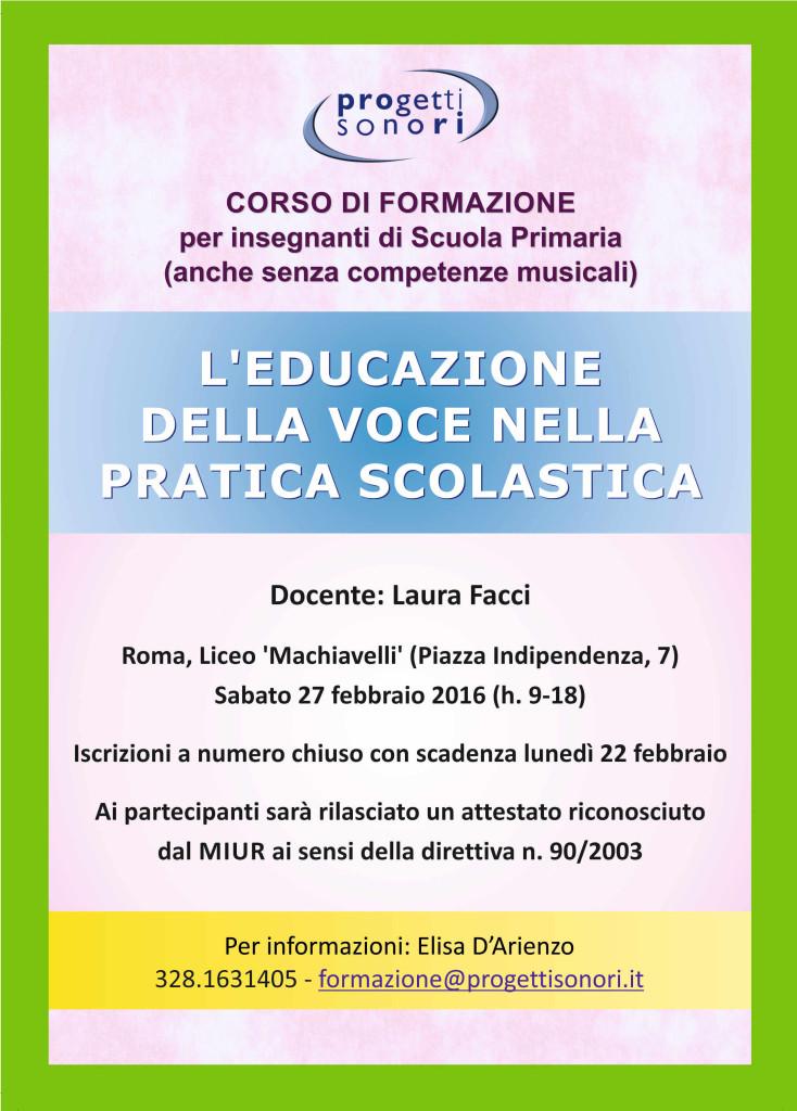Corso di formazione: L'educazione della voce nella pratica scolastica